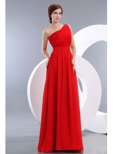 Modest Red One Shoulder Long Chiffon Evening Dress