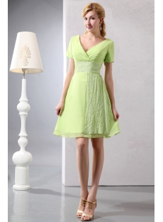 Modest Sage Chiffon Short Prom Dress with Short Sleeves