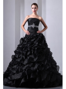 New Pretty Ruffled Layers Gothic Black Wedding Dress