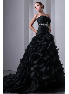 New pretty ruffled layers gothic black wedding dress1st dress new pretty ruffled layers gothic black wedding dress junglespirit Images