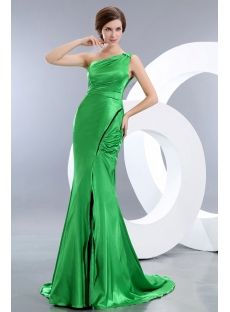 Perfect Green One Shoulder Sheath Prom Dress with Slit