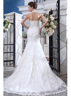 Perfect Illusion Halter Sheath Wedding Dresses with Train