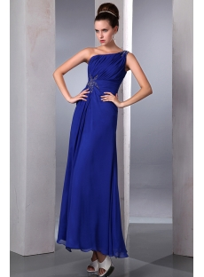 Popular High Slit Royal Blue Ankle Length Chiffon Prom Dress