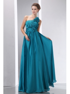 Popular Teal Blue Floral One Shoulder Evening Dress