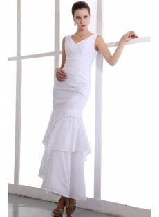Precious White Ankle Length Taffeta V-neckline Informal Bridal Gowns