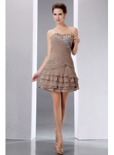 Pretty Beading Brown Short Prom Dress