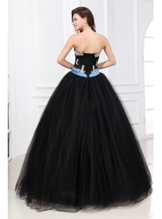 Pretty Black and Blue Colorful Ball Gown Dress
