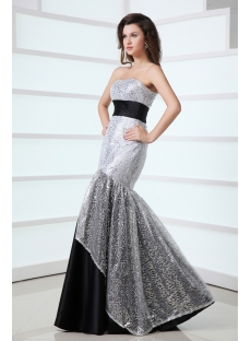 Pretty Black and Silver Mermaid Masquerade Party Dress