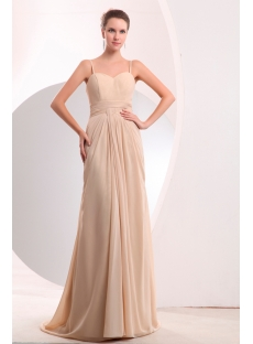 Pretty Champagne Chiffon Slit Long Prom Dress with Train
