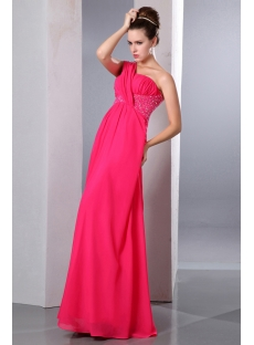 Pretty Coral One Shoulder Chiffon Empire Pregnant Prom Party Dress