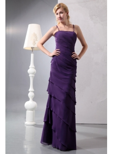 Pretty Criss-cross Dark Purple Layers Long Homecoming Dress
