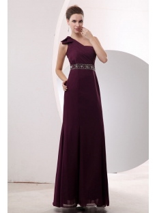 Pretty Dark Purple One Shoulder Sheath Chiffon Military Party Dress