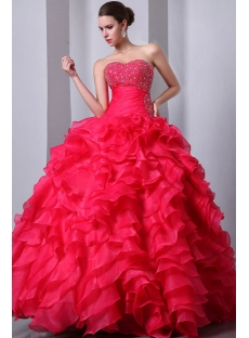 Pretty Fuchsia Puffy Ruffled Quince Dress 15