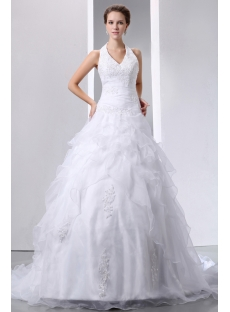 Pretty Halter Beaded Lace Ball Gown Wedding Dress with Lace up