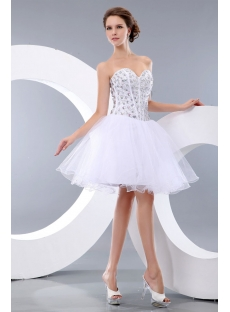 Pretty Jeweled White Puffy Sweetheart Cocktail Dress:1st-dress.com