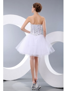 Pretty Jeweled White Puffy Sweetheart Cocktail Dress