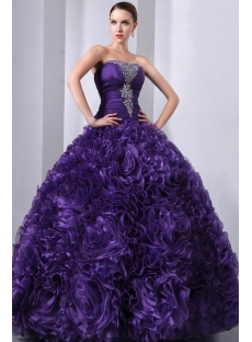 Purple 3D Handmade Flowers Ruffled Quinceanera Gown 2014