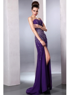 Purple Brilliant Sexy Slit Front Evening Cocktail Dress