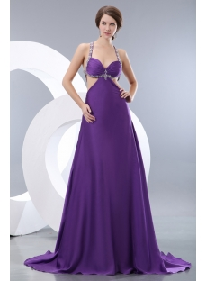 Purple Sexy Criss-cross Celebrity Gowns with Train