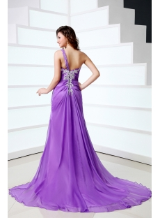 Purple Sexy One Shoulder Chiffon Celebrity Dress with Slit Front
