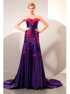 Purple Sweetheart Evening Dress with Fuchsia Handmade Flowers