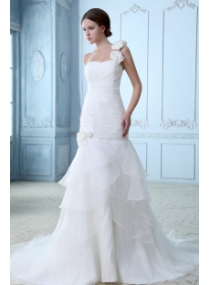 Romantic 2014 One Shoulder Wedding Gowns with Drop Waist