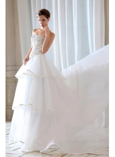 Romantic Beaded Cinderella Basque Bridal Gowns with Chapel Train