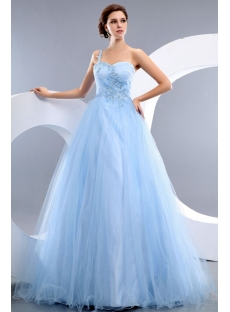 Cheap Romantic Blue One Shoulder Tulle Quinceanera Dress