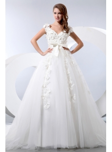 Romantic Floral Queen Anne Princess Wedding Dress with Cap Sleeves