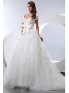 Romantic Floral Queen Anne Princess Wedding Dress With Cap