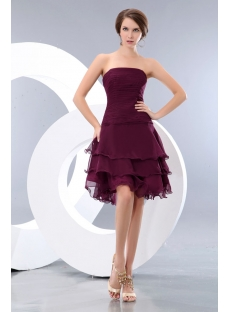 Romantic Grape Layers Short Prom Dresses