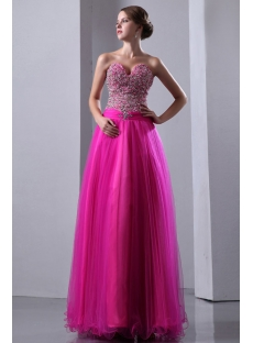 Romantic Hot Pink Beaded Tulle Quinceanera Dresses Sweetheart