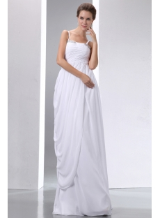 Romantic Ivory Straps Chiffon Column Pregnant Wedding Gowns