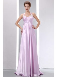 Romantic Lilac Halter Floor Length Prom Gown for Full Figure