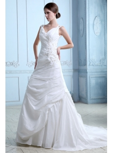 Romantic Pleats Taffeta Sheath Mature Bridal Gowns with Corset