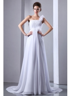 Romantic Plus Size Chiffon Empire One Shoulder Bridal Gowns