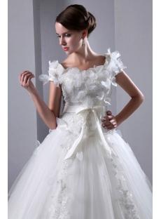 Romantic Square Neckline Short Sleeves Ball Gown Wedding Dress