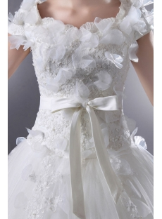 Romantic Square Neckline Short Sleeves Ball Gown Wedding Dress