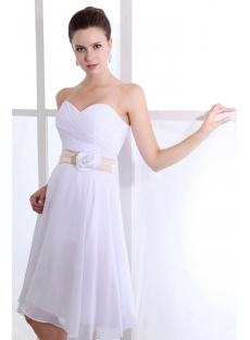 Romantic Sweetheart Knee Length Chiffon Flower Bridesmaid Gowns