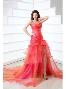 Romantic Sweetheart Layers Colorful Slit Evening Dress with Flowers