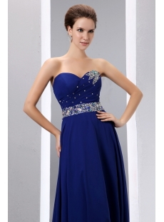 Royal Blue A-line Long Chiffon Evening Dress 2014 for Spring