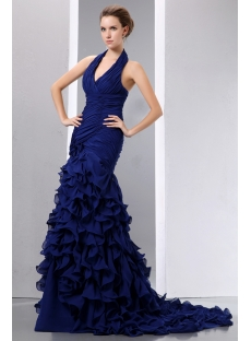 Royal Halter Ruched Mermaid Formal Prom Dress with Train