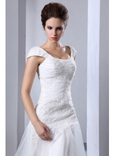 Scoop Neck Drop Waist Wedding Dress with Cap Sleeves
