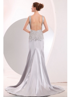 Scoop Open Back Silver Slit Evening dresses