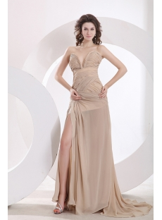 Sexy Champagne Evening Dress Ireland with Slit Front