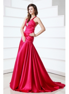 Sexy Fuchsia Criss-cross Evening Dress with Train
