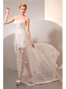Sexy High-low Summer Chiffon Beach Wedding Dress