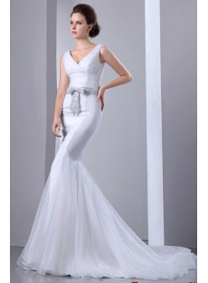 Sexy Mermaid V-neckline Bridal Gowns 2014 with Silver Sash