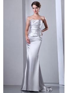 Sheath Silver Sweetheart Evening Dress Cheap with Croset