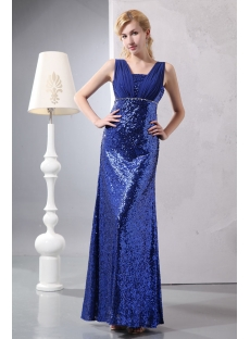 Shining Royal Blue Sequins Evening Dress for Plus Size